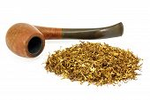 stock photo of tobacco-pipe  - pipe and tobacco isolated on white background - JPG