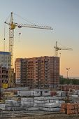 stock photo of novosibirsk  - The construction of new apartment houses in Koltsovo town  - JPG