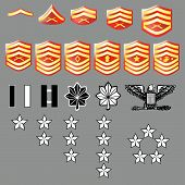 foto of united states marine corps  - US Marine Corps rank insignia for officers and enlisted in vector format with texture - JPG