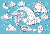 stock photo of flying saucer  - Doodle Elements - JPG