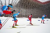 MOSCOW - FEB 9: Group of male skiers during FIS Continental Cup (Estern Europe) ski racing in catego