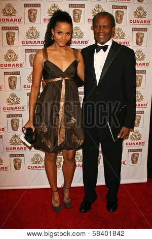 LOS ANGELES - NOVEMBER 2: Sidney Poitier and his daughter at the 2005 BAFTA/LA Cunard Britannia Awards at Hyatt Regency Century Plaza Hotel on November 2, 2006 in Century City, CA.