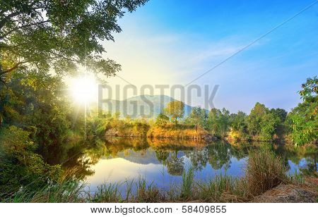 Beautiful landscape blue sky sunlight morning light mountain