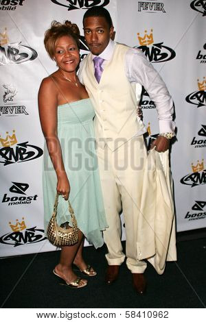 LOS ANGELES - OCTOBER 10: Nick Cannon and his mother Beth Hackett at the birthday party for Nick Cannon and the opening of his flagship store for PNB Nation on October 10, 2006 at PNB Nation Store.