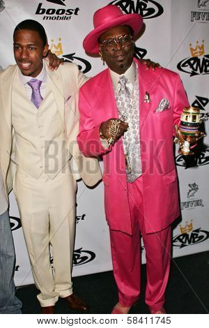 LOS ANGELES - OCTOBER 10: Nick Cannon and Bishop Don Magic Juan at the birthday party for Nick Cannon and the opening of his flagship store for PNB Nation on October 10, 2006 at PNB Nation Store.