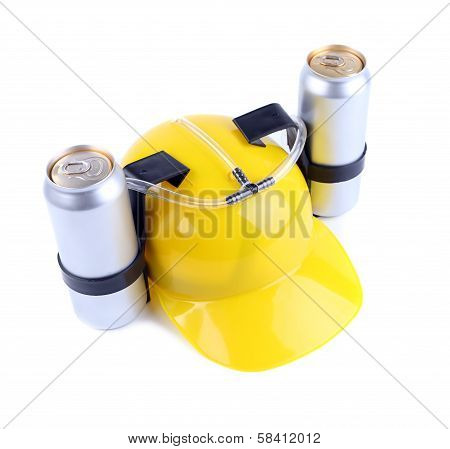 Hand free helmet for drink yellow color