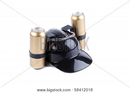 Hand free helmet for drink black color