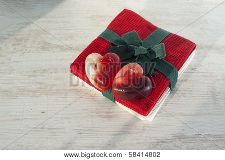 Valentine Heart Couple Red Translucent Soap On Red Towel