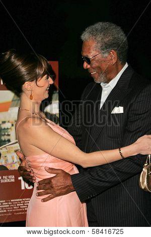 LOS ANGELES - NOVEMBER 27: Paz Vega and Morgan Freeman at the premiere of