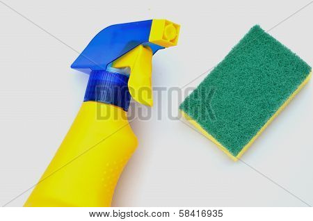 cleaning bottle and scourer