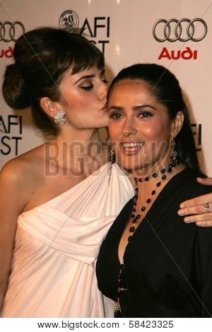 HOLLYWOOD - NOVEMBER 02: Penelope Cruz and Salma Hayek at the AFI Fest 2006 screening of Pedro Almodovar's