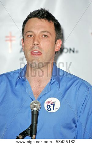 Ben Affleck at a press conference supporting Prop 87, USC, Los Angeles, California, October 27, 2006.