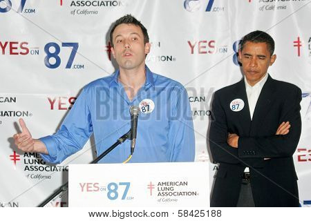 Barack Obama and Ben Affleck at a press conference supporting Prop 87, USC, Los Angeles, California, October 27, 2006.