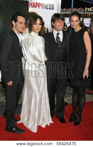 WESTWOOD, CA - DECEMBER 07: Marc Anthony and Jennifer Lopez with Tom Cruise and Katie Holmes at the premiere of