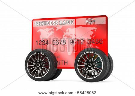 Mobile Banking Concept. Credit Card On Wheels