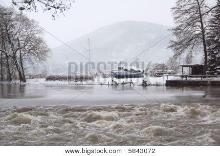 Saale Winter landscape