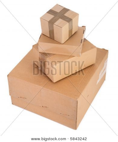 Group Of Cardboard Boxes On White