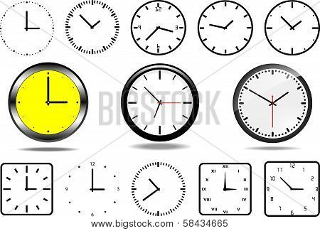 Office wall clocks, and 10 clock icons