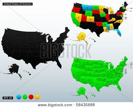 Political map of United States of America