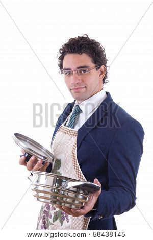 Man With An Apron Holding A Cooking Pot