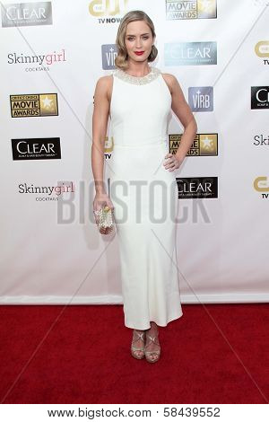 Emily Blunt at the 18th Annual Critics' Choice Movie Awards Arrivals, Barker Hangar, Santa Monica, CA 01-10-13