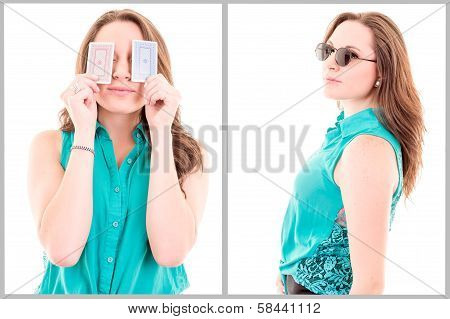 Atractive girl with playing cards isolated on white background
