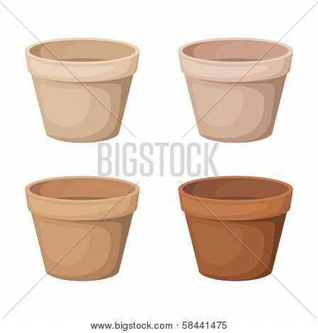 Flowerpots. Set of four vector illustrations.