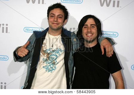 Jonathan Sadowski and Jason Newsted at the party celebrating the launch of Nintendo's Game Console Wii. Boulevard 3, Los Angeles, California. November 16, 2006.