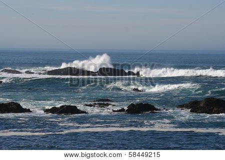 Pacific Ocean Horizon with California Coast Rocks