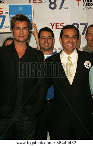 LOS ANGELES - NOVEMBER 11:  Brad Pitt and Antonio Villaraigosa at Proposition 87 Press Conference in a Private Location November 11, 2006 in Los Angeles, CA.