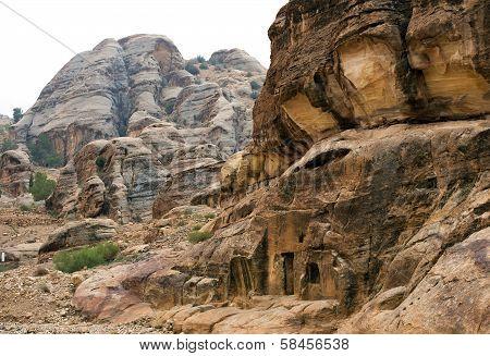 Colorful Rock Formations Of Petra In Jordan