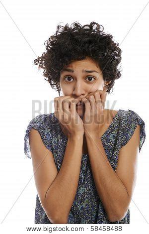 Portrait Of Stressed Woman Biting Fingernail