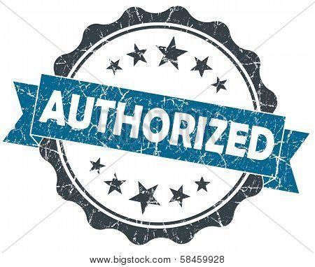 Authorized Blue Grunge Vintage Seal Isolated On White
