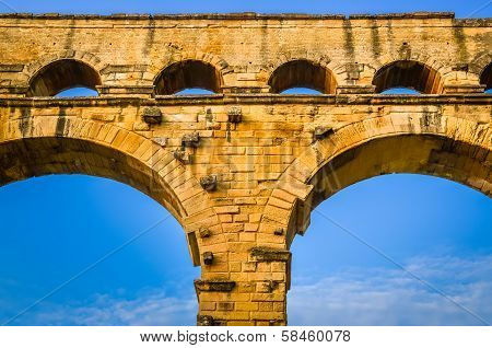 Detail Of Pont Du Gard Aquaduct Bridge Pillars