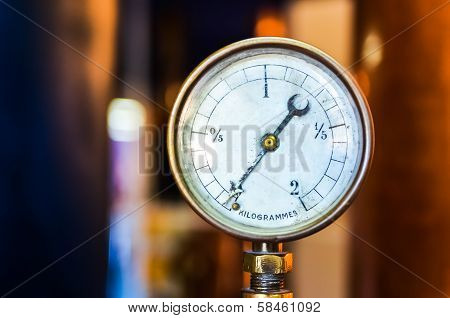 Detail Of Pressure Manometer On Nice Bokeh Background