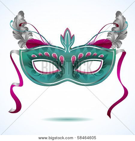 Carnival mask with feathers vector illustrations