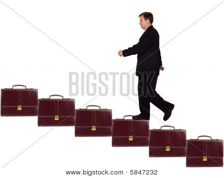 Businessman On Career Staircase