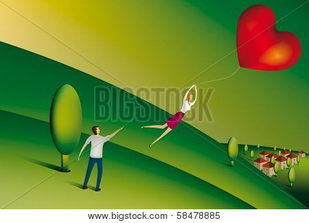 Woman floating away holding heart shaped balloon