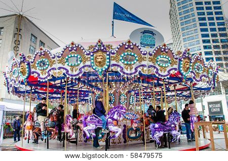 Merry-go-round in downtown Seattle