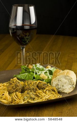 Spaghetti, Salad, And Wine