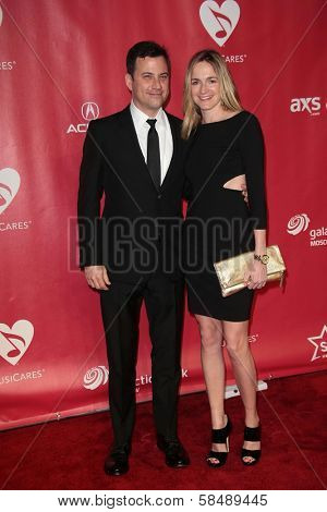 Jimmy Kimmel, Molly McNearney at MusiCares Person Of The Year Honoring Bruce Springsteen, Los Angeles Convention Center, Los Angeles, CA 02-08-13