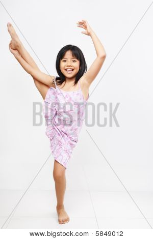 Little Girl Doing Stretching
