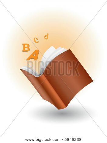 book with flying letters