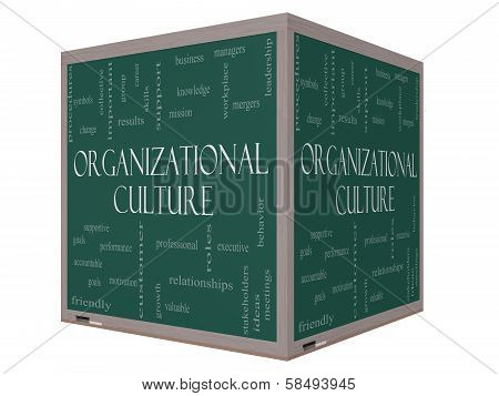 Organizational Culture Word Cloud Concept On A 3D Cube Blackboard