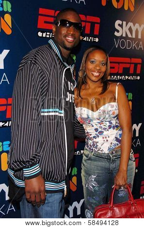 HOLLYWOOD - JULY 11: Dwayne Wade and wife at ESPN The Magazine's
