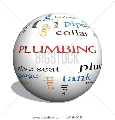Plumbing 3D Sphere Word Cloud Concept