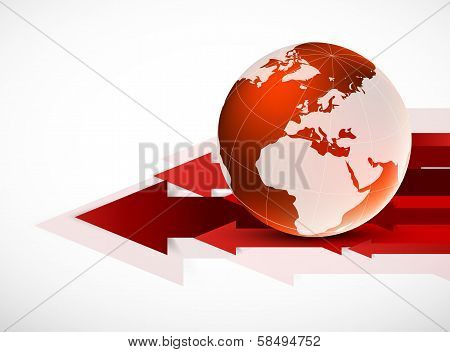 Red globe with arrows