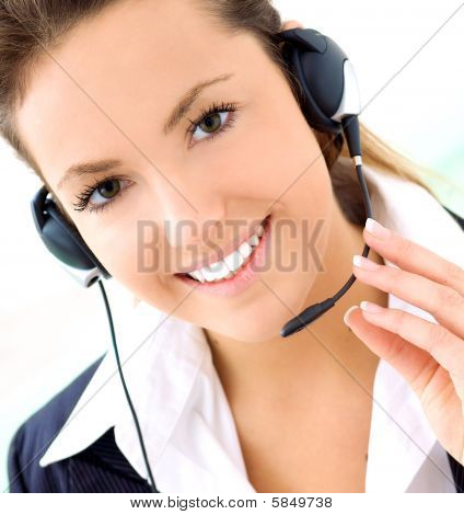 Young Blond Woman With Headset