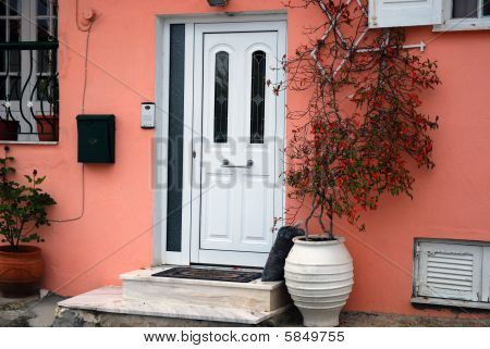 pink house entrance