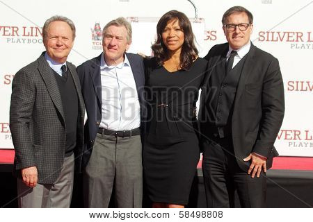 Billy Crystal, Robert De Niro, Grace Hightower, David O. Russell at the Robert De Niro Hand and Foot Print Ceremony, Chinese Theater, Hollywood, CA 02-04-13